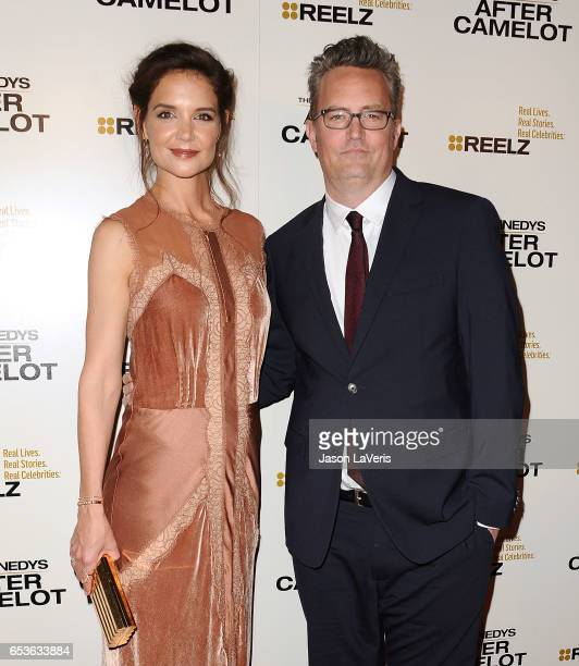 Actress Katie Holmes and actor Matthew Perry attend the premiere of 'The Kennedys After Camelot' at The Paley Center for Media on March 15 2017 in...