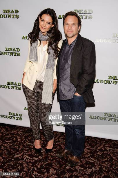 Actress Katie Holmes and actor Norbert Leo Butz attend the 'Dead Accounts' cast photo call at Sardi's on October 12 2012 in New York City