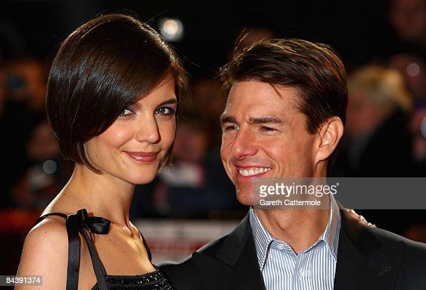 Actress Katie Holmes and actor Tom Cruise attend the 'Valkyrie' film premiere held at the Odeon Leicester Square on January 21 2009 in London England