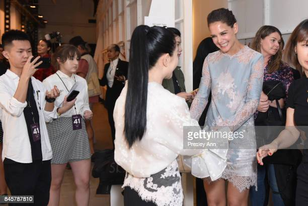 Actress Katie Holmes and designer Lan Yu backstage for Lanyu fashion show during New York Fashion Week The Shows at Gallery 2 Skylight Clarkson Sq on...