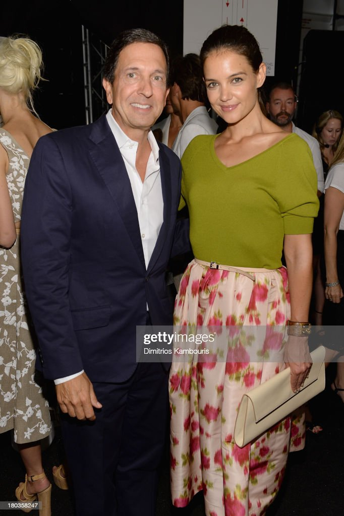 Actress <a gi-track='captionPersonalityLinkClicked' href=/galleries/search?phrase=Katie+Holmes&family=editorial&specificpeople=201598 ng-click='$event.stopPropagation()'>Katie Holmes</a> (R) and guest pose backstage at the Michael Kors fashion show during Mercedes-Benz Fashion Week Spring 2014 at The Theatre at Lincoln Center on September 11, 2013 in New York City.