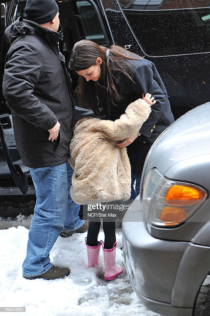 Actress <a gi-track='captionPersonalityLinkClicked' href=/galleries/search?phrase=Katie+Holmes&family=editorial&specificpeople=201598 ng-click='$event.stopPropagation()'>Katie Holmes</a> and her daughter <a gi-track='captionPersonalityLinkClicked' href=/galleries/search?phrase=Suri+Cruise&family=editorial&specificpeople=4029470 ng-click='$event.stopPropagation()'>Suri Cruise</a> as seen on March 8, 2013 in New York City.