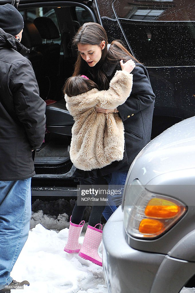 Actress Katie Holmes and her daughter Suri Cruise as seen on March 8, 2013 in New York City.