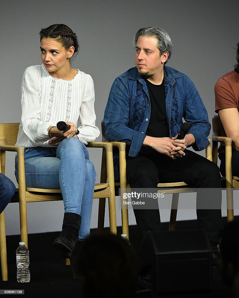 Actress <a gi-track='captionPersonalityLinkClicked' href=/galleries/search?phrase=Katie+Holmes&family=editorial&specificpeople=201598 ng-click='$event.stopPropagation()'>Katie Holmes</a> (L) and producer Jeremy Alter attend Apple Store Soho presents 'Meet the Filmmaker' at Apple Store Soho on February 8, 2016 in New York City.
