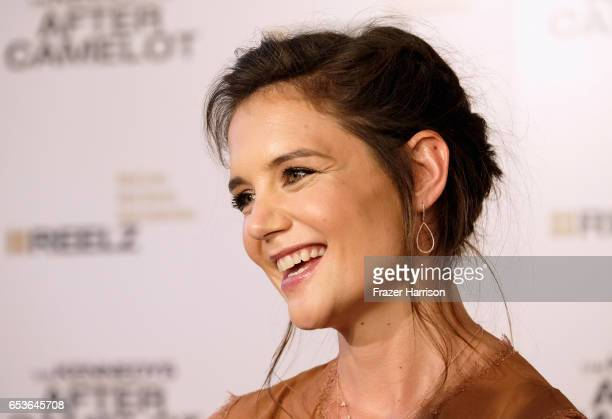 Actress Katie Holmes arrives at the Premiere of Reelz's 'The Kennedys After Camelot' at The Paley Center for Media on March 15 2017 in Beverly Hills...