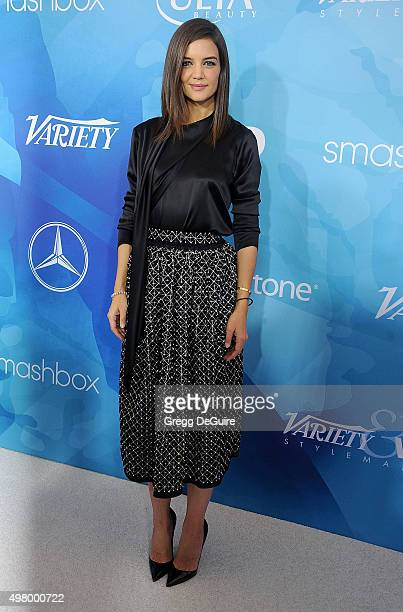 Actress Katie Holmes arrives at the WWD And Variety Inaugural Stylemakers' Event at Smashbox Studios on November 19 2015 in Culver City California