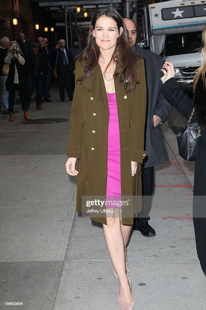 Actress Katie Holmes arrives to 'Late Show with David Letterman' at Ed Sullivan Theater on December 20, 2012 in New York City.