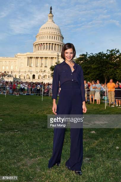 Actress Katie Holmes at the 20th annual PBS National Memorial Day Concert Rehearsals on the West Lawn at the US Capitol on May 23 2009 in Washington...