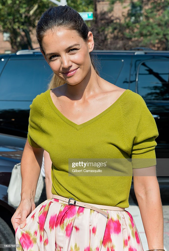 Actress <a gi-track='captionPersonalityLinkClicked' href=/galleries/search?phrase=Katie+Holmes&family=editorial&specificpeople=201598 ng-click='$event.stopPropagation()'>Katie Holmes</a> attends 2014 Mercedes-Benz Fashion Week during day 7 on September 11, 2013 in New York City.