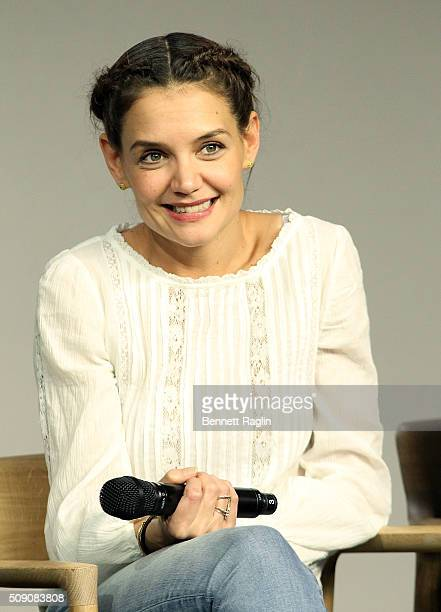 Actress Katie Holmes attends the Apple Store Soho presents'Touched With Fire' at Apple Store Soho on February 8 2016 in New York City