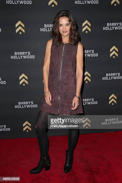 Actress Katie Holmes attends the launch of Barry's Bootcamp Hollywood at Barry's Bootcamp Hollywood on November 12 2015 in Hollywood California