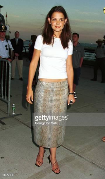 Actress Katie Holmes attends the World Premiere of the Twentieth Century Fox Film 'XMEN' July 12 at Ellis Island New York