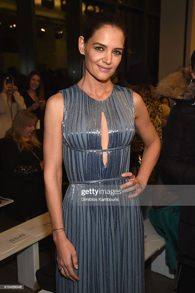 Actress <a gi-track='captionPersonalityLinkClicked' href=/galleries/search?phrase=Katie+Holmes&family=editorial&specificpeople=201598 ng-click='$event.stopPropagation()'>Katie Holmes</a> attends the Zac Posen Fall 2016 fashion show during New York Fashion Week at Spring Studios on February 15, 2016 in New York City.