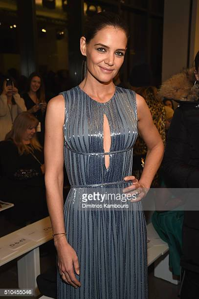 Actress Katie Holmes attends the Zac Posen Fall 2016 fashion show during New York Fashion Week at Spring Studios on February 15 2016 in New York City