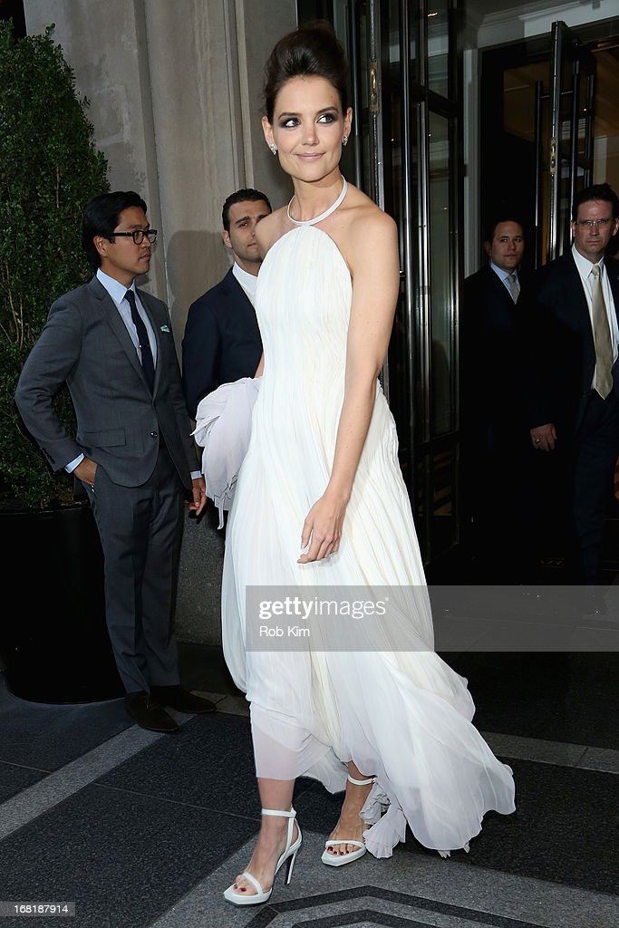 Actress Katie Holmes departs the Mark Hotel for the 'PUNK: Chaos To Couture' Costume Institute Gala at the Metropolitan Museum of Art on May 6, 2013 in New York City.