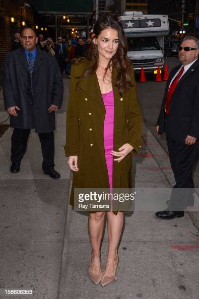 Actress Katie Holmes enters the 'Late Show With David Letterman' taping at the Ed Sullivan Theater on December 20 2012 in New York City