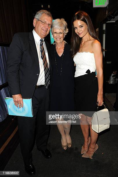 Actress Katie Holmes father Martin Holmes and mother Kathleen Holmes pose during the 2011 Women In Film Crystal Lucy Awards with presenting sponsor...
