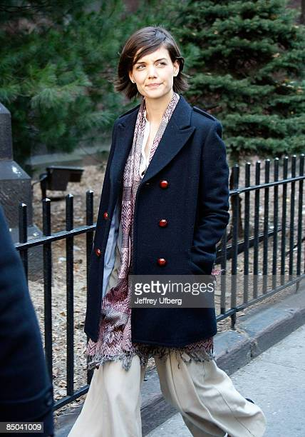 Actress Katie Holmes filming on location for 'The Extra Man' on the streets of Manhattan on February 24 2009 in New York City