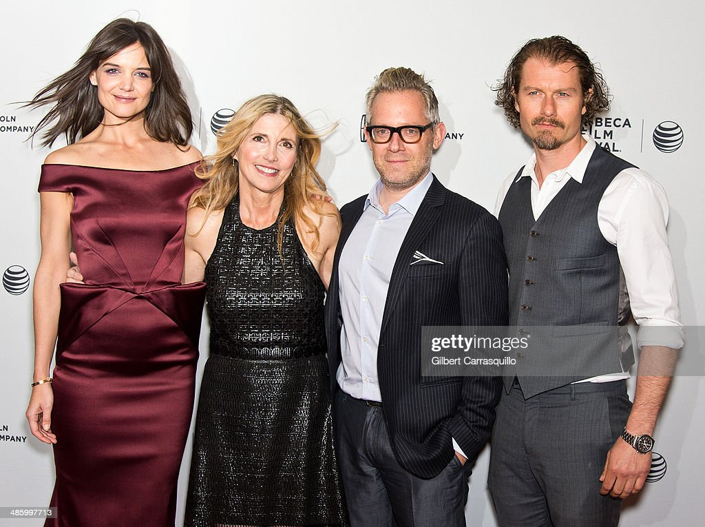 Actress Katie Holmes filmmaker Karen Leigh Hopkins producer Rob Carliner and actor James Badge Dale attend the screening of 'Miss Meadows' during the...