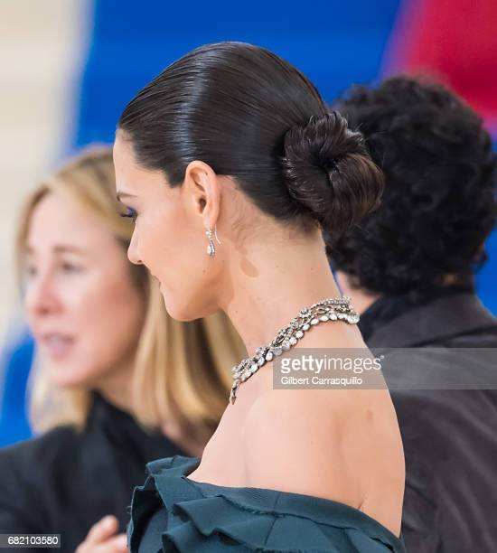 Actress Katie Holmes hair and jewelry detail is seen at the 'Rei Kawakubo/Comme des Garcons Art Of The InBetween' Costume Institute Gala at...