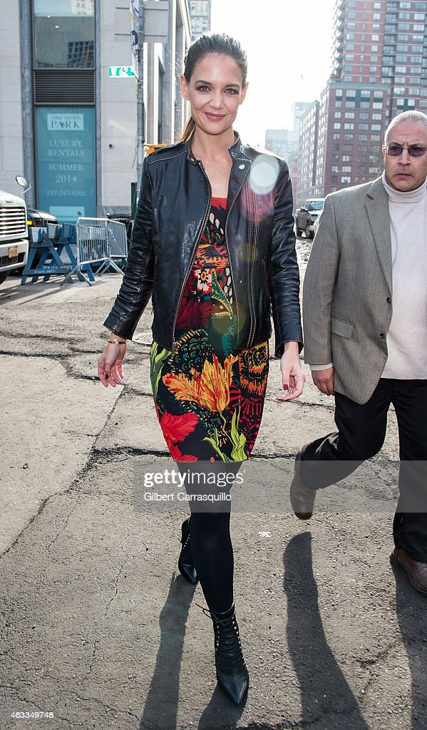 Actress Katie Holmes is seen arriving to Desigual fashion show during MercedesBenz Fashion Week Fall 2015 at Lincoln Center on February 12 2015 in...