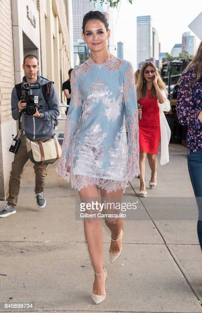 Actress Katie Holmes is seen leaving Lanyu fashion show during New York Fashion Week The Shows at Gallery 2 Skylight Clarkson Sq on September 11 2017...