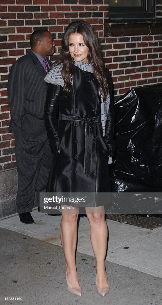 Actress <a gi-track='captionPersonalityLinkClicked' href=/galleries/search?phrase=Katie+Holmes&family=editorial&specificpeople=201598 ng-click='$event.stopPropagation()'>Katie Holmes</a> is seen leaving the 'Late Show With David Letterman' at the Ed Sullivan Theater on November 10, 2011 in New York City.