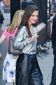 Actress Katie Holmes leaves the 'Good Morning America' taping at the ABC Times Square Studios on July 22 2015 in New York City