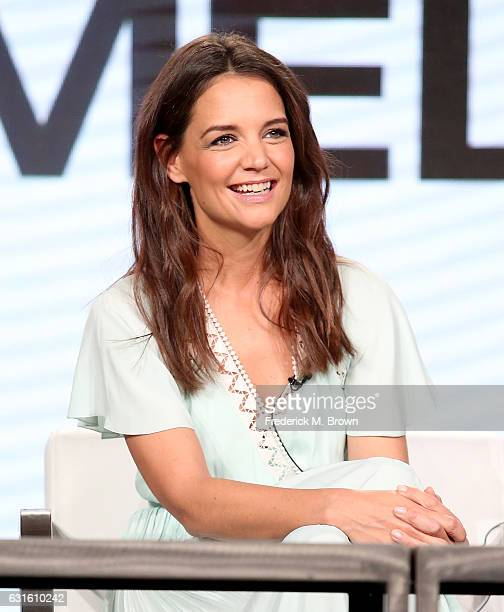 Actress Katie Holmes of the television show 'The Kennedys After Camelot' speaks onstage during the REELZChannel portion of the 2017 Winter Television...