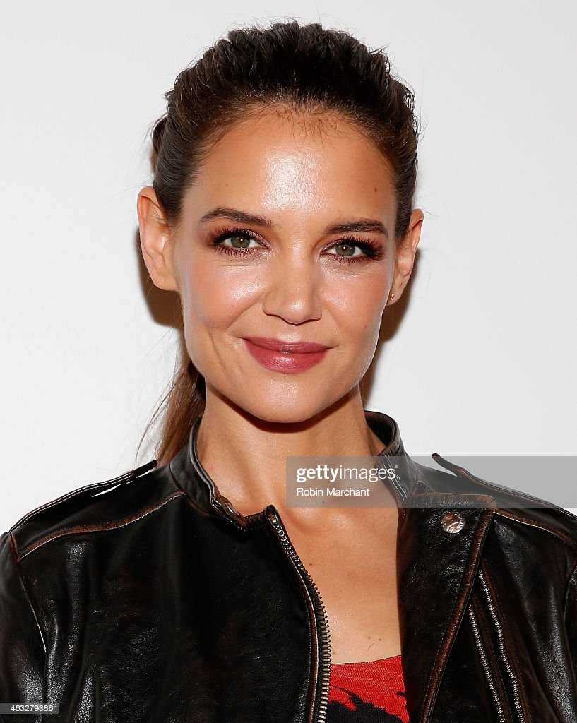 Actress katie holmes poses backstage at the desigual fashion show during mercedes benz fashion week