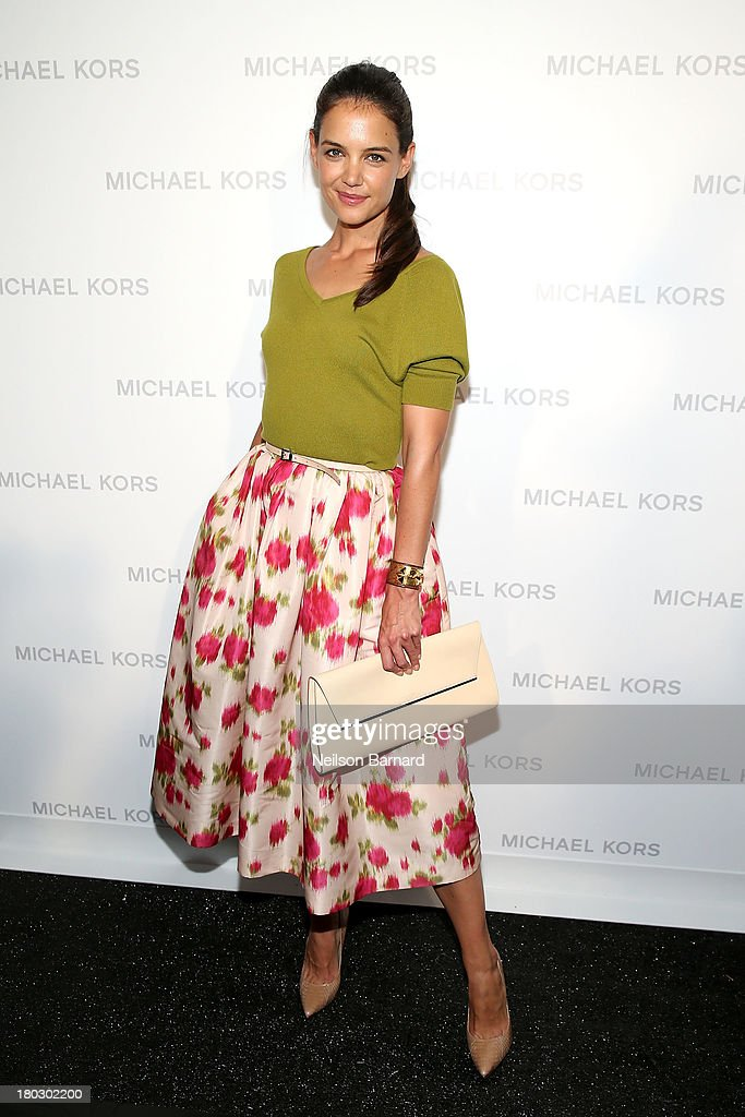 Actress <a gi-track='captionPersonalityLinkClicked' href=/galleries/search?phrase=Katie+Holmes&family=editorial&specificpeople=201598 ng-click='$event.stopPropagation()'>Katie Holmes</a> poses backstage at the Michael Kors fashion show during Mercedes-Benz Fashion Week Spring 2014 at The Theatre at Lincoln Center on September 11, 2013 in New York City.