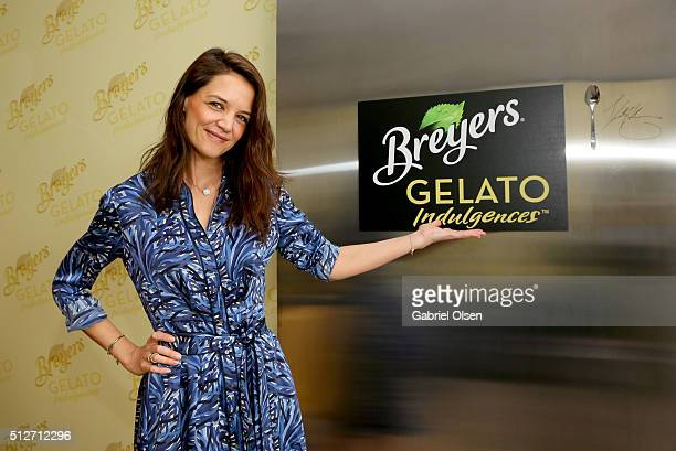 """Actress Katie Holmes shared a """"spoonful of support"""" for independent films by visiting the Breyers Gelato Indulgences Hospitality Lounge backstage at..."""