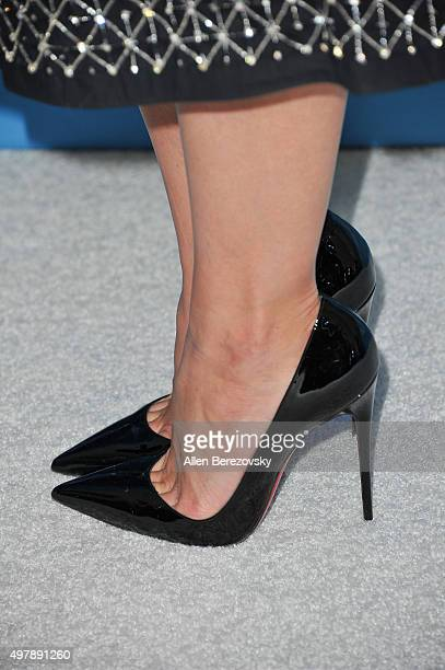 Actress Katie Holmes shoe detail attends the WWD And Variety's Stylemakers Event at Smashbox Studios on November 19 2015 in Culver City California