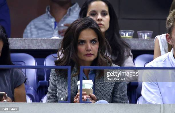 Actress Katie Holmes watches as Venus Williams of the United States plays Sloane Stephens of the United States during their Women's Singles Semifinal...