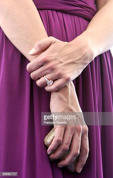Actress Katie Holmes wears an engagment ring given by actor Tom Cruise on June 17 2005 in Marseille France