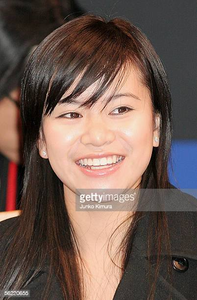Actress Katie Leung attends a press conference promoting a new film 'Harry Potter and The Goblet Of Fire' on November 18 2005 in Tokyo Japan The film...