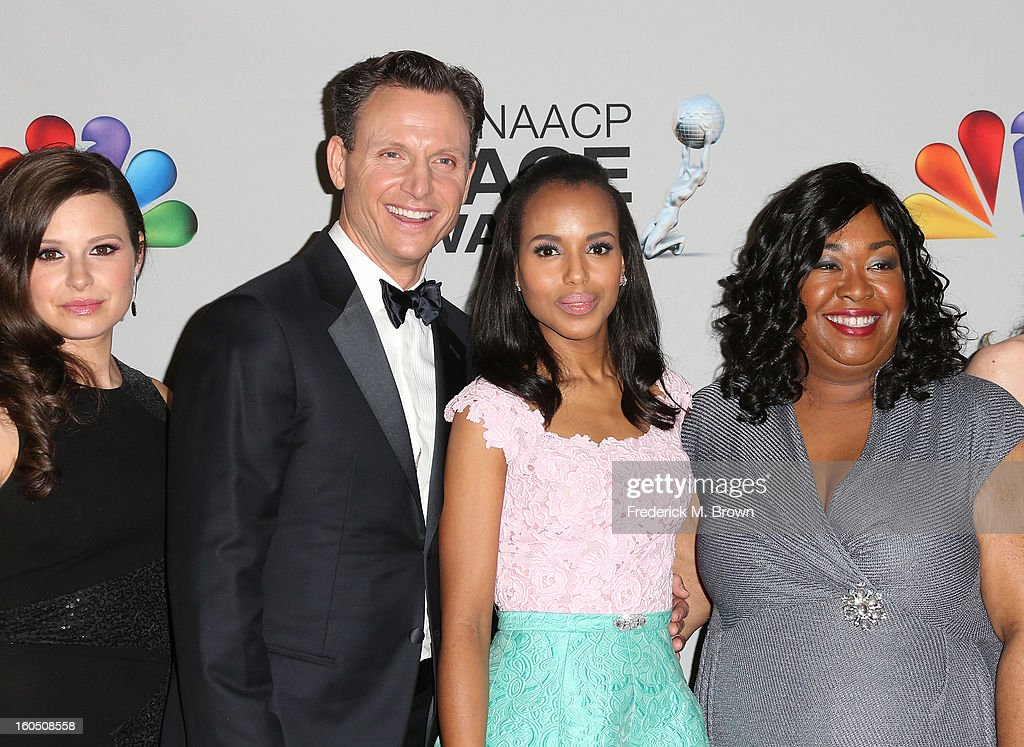 Actress Katie Lowes, actor Tony Goldwyn, actress Kerry Washington and writer/producer Shonda Rhimes pose in the press room during the 44th NAACP Image Awards at The Shrine Auditorium on February 1, 2013 in Los Angeles, California.