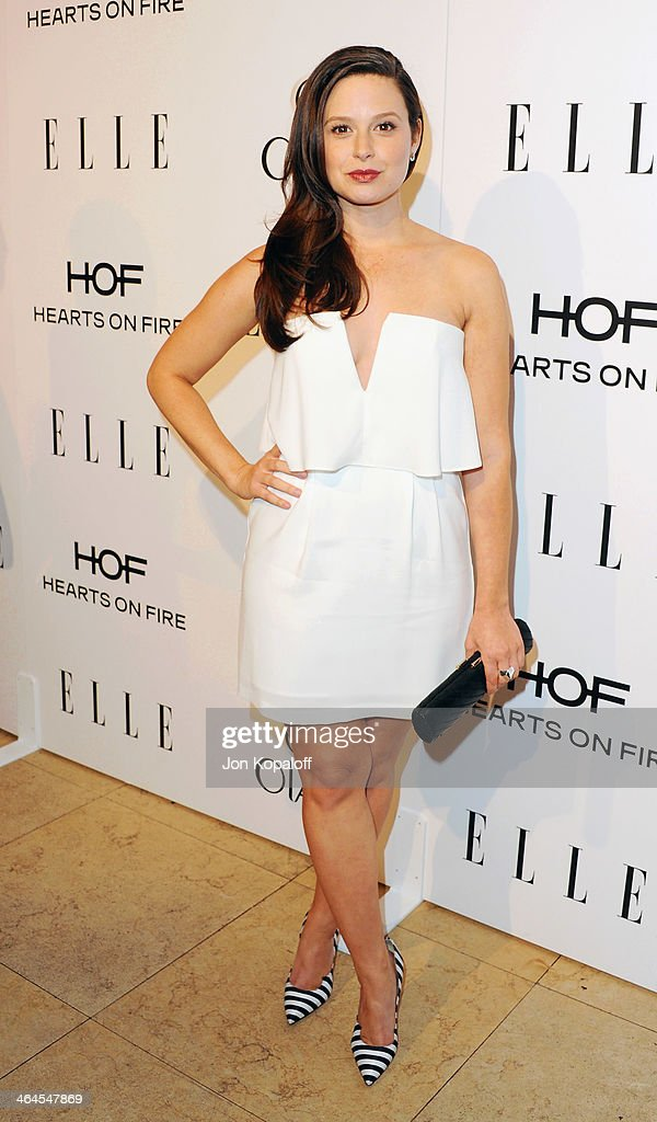 Actress <a gi-track='captionPersonalityLinkClicked' href=/galleries/search?phrase=Katie+Lowes&family=editorial&specificpeople=5527804 ng-click='$event.stopPropagation()'>Katie Lowes</a> arrives at the ELLE Women In Television Celebration at Sunset Tower on January 22, 2014 in West Hollywood, California.