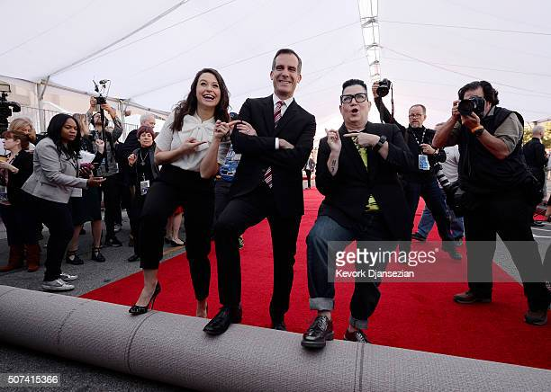 Actress Katie Lowes SAG Awards Social Media Ambassador Los Angeles Mayor Eric Garcetti and actress Lea DeLaria nominee for SAG Awards Comedy Ensemble...