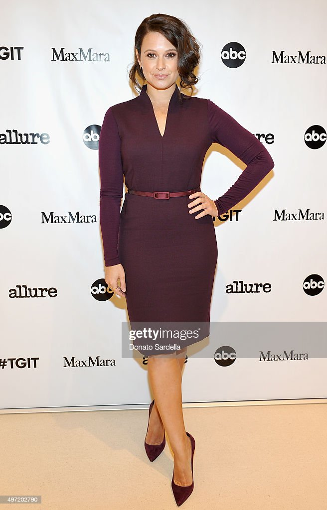 Actress Katie Lowes, wearing MaxMara, attends 'MaxMara & Allure Celebrate ABC's #TGIT' at MaxMara on November 14, 2015 in Beverly Hills, California.