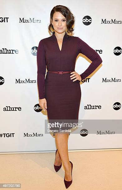 Actress Katie Lowes wearing MaxMara attends 'MaxMara Allure Celebrate ABC's #TGIT' at MaxMara on November 14 2015 in Beverly Hills California