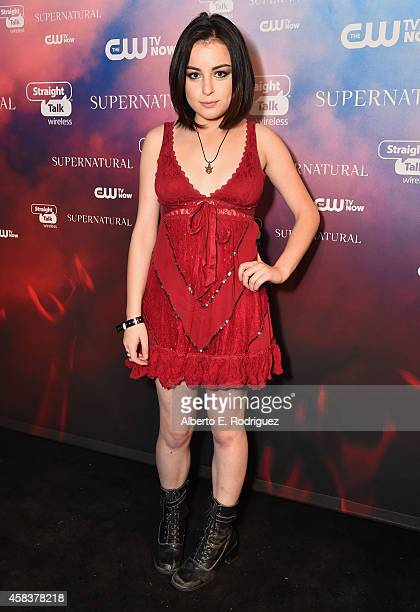 Actress Katie Sarife attends the CW's Fan Party to Celebrate the 200th episode of 'Supernatural' on November 3 2014 in Los Angeles California