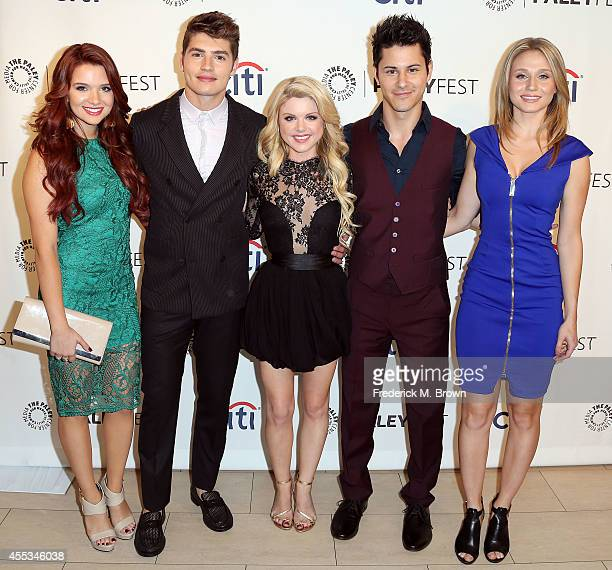Actress Katie Stevens actor Gregg Sulkin actress Bailey De Young actor Michael J Willett and actress Rita Volk attend The Paley Center for Media's...
