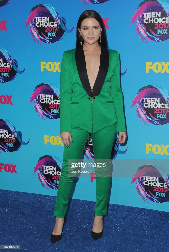 Actress Katie Stevens arrives at the Teen Choice Awards 2017 at Galen Center on August 13, 2017 in Los Angeles, California.