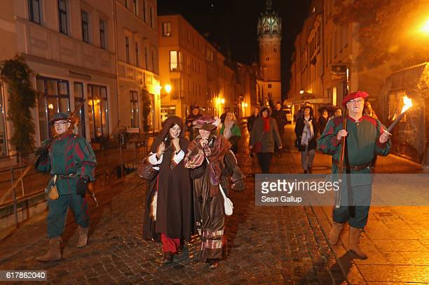 Actress Katja Koehler playing the role of Katharina von Bora the wife of 16thcentury theologian Martin Luther and actress Astrid Raeuchle in the role...