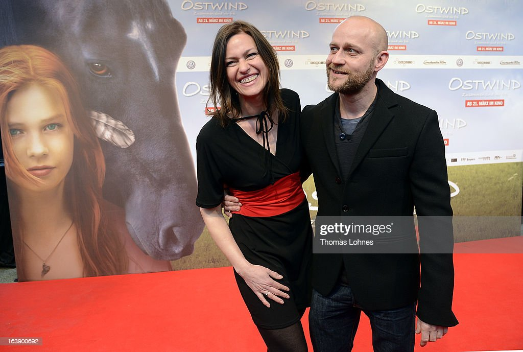 Actress Katja Kronjaeger and ActorJuergen Vogel attend the premiere of the film 'Ostwind' on March 17, 2013 in Frankfurt am Main, Germany. The family film portrays the friendship between the young Mika and the wild and shy stallion 'Ostwind' (east wind). Katja Kronjaeger is seen als 'Nikas mother' in the film