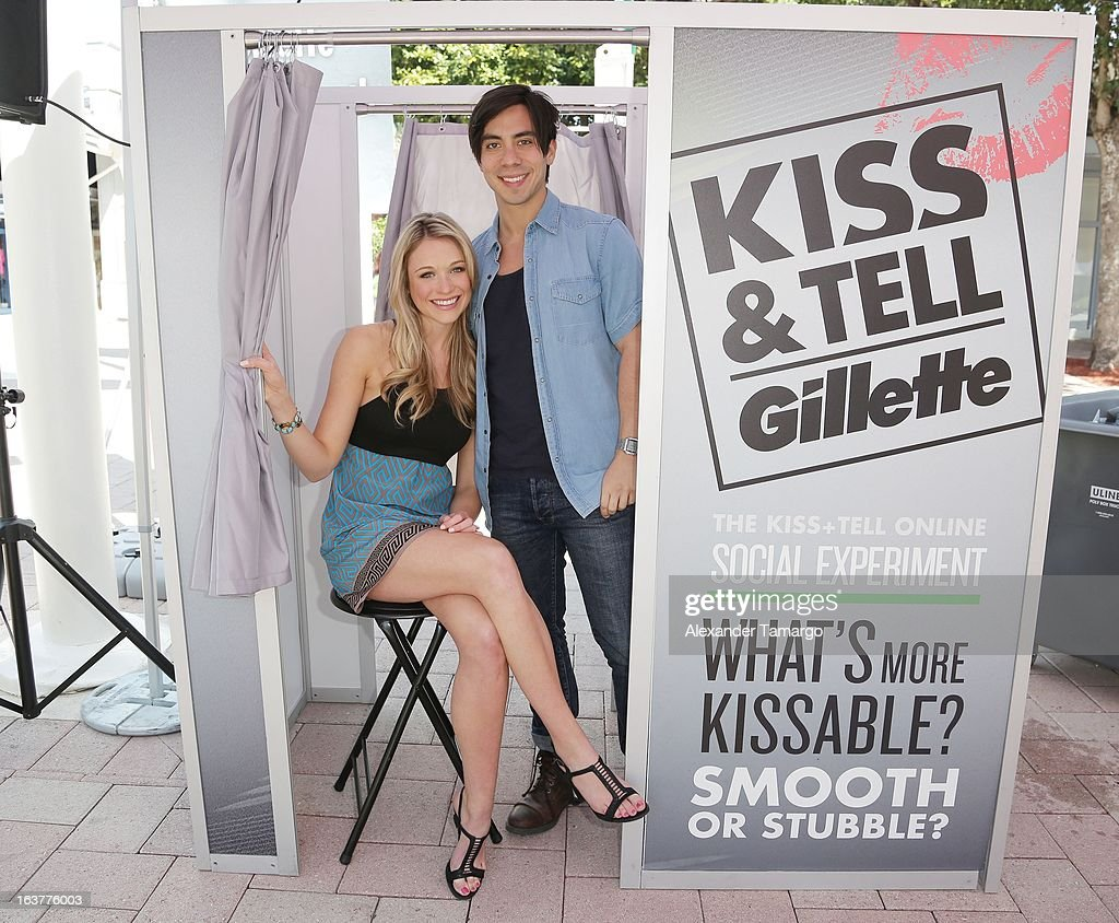 Actress Katrina Bowden and musician and fiancee Ben Jorgensen help guys stay smooth shaven as she kicks off the Gillette K.I.S.S. Spring Break tour in Miami at Bayside Marketplace on March 15, 2013 in Miami, Florida.
