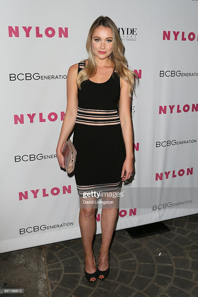 Actress Katrina Bowden arrives at NYLON and BCBGeneration's Annual Young Hollywood May Issue Event at HYDE Sunset: Kitchen + Cocktails on May 12, 2016 in West Hollywood, California.