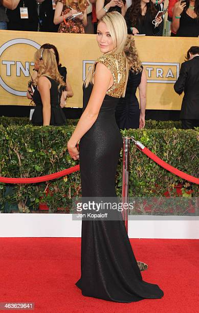 Actress Katrina Bowden arrives at the 20th Annual Screen Actors Guild Awards at The Shrine Auditorium on January 18 2014 in Los Angeles California