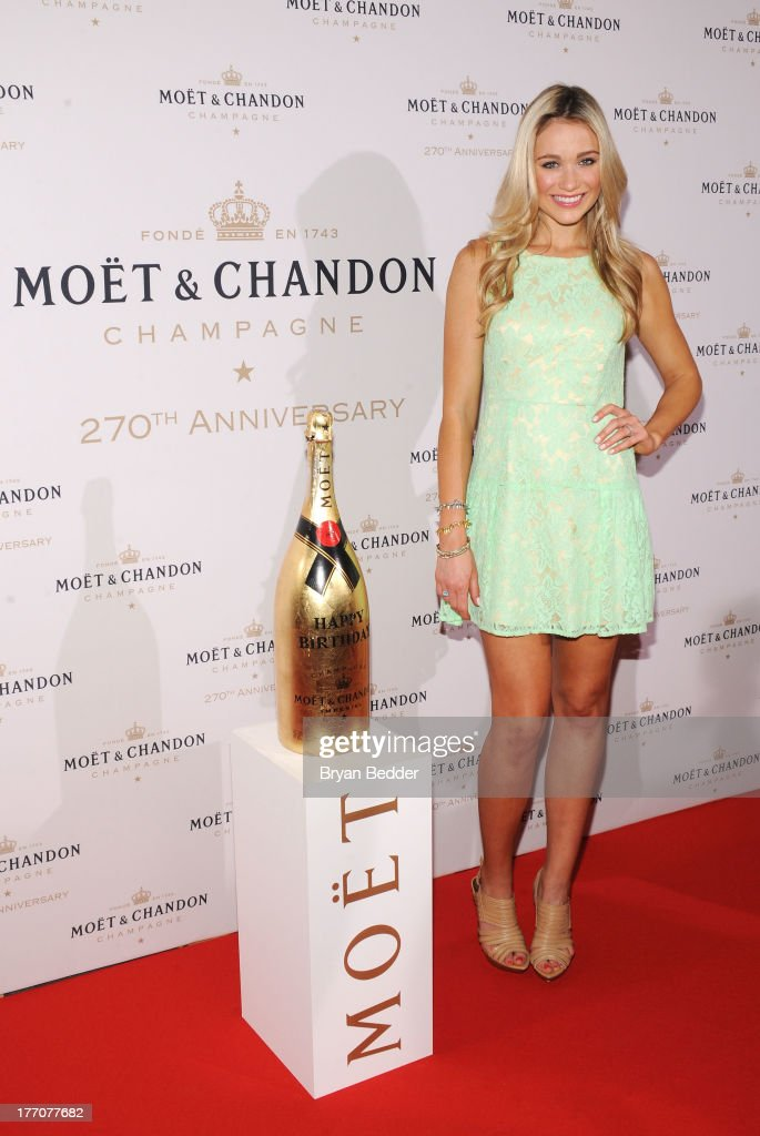 Actress Katrina Bowden attends Moet & Chandon Celebrates Its 270th Anniversary With New Global Brand Ambassador, International Tennis Champion, Roger Federer at Chelsea Piers Sports Center on August 20, 2013 in New York City.